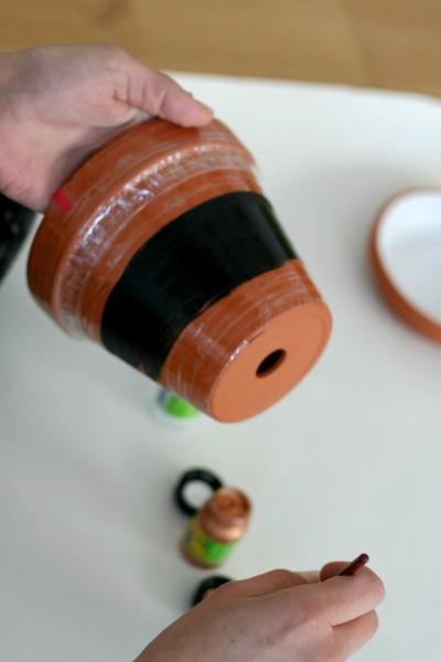 DIY Terrakotta-Topf schwarze Farbe