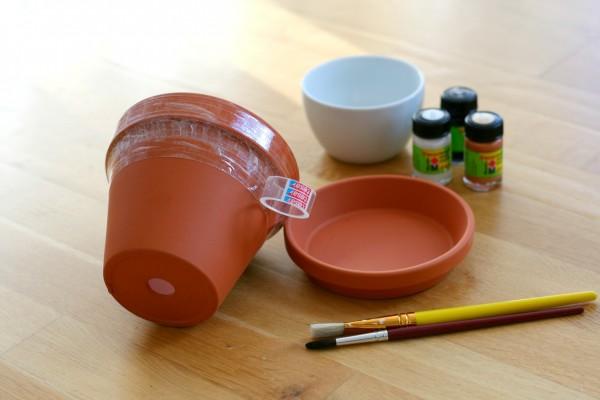 DIY Terrakotta-Topf Tesafilm Acrylfarben Pinsel